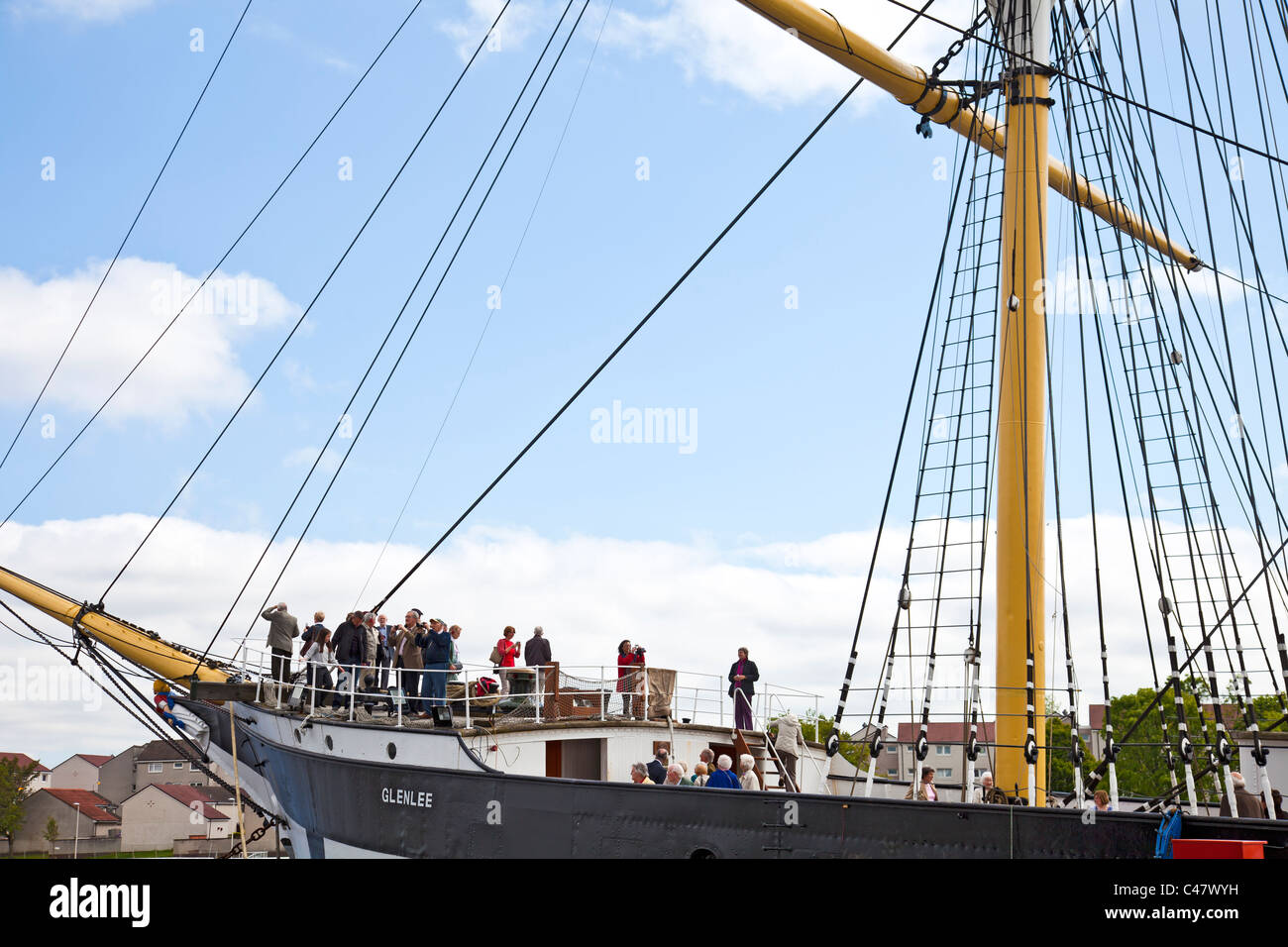 Friends of Glasgow Museum aboard the Tall Ship (Glenlee) at Pointhouse Quay on the Preview Day before its reopening. - Stock Image