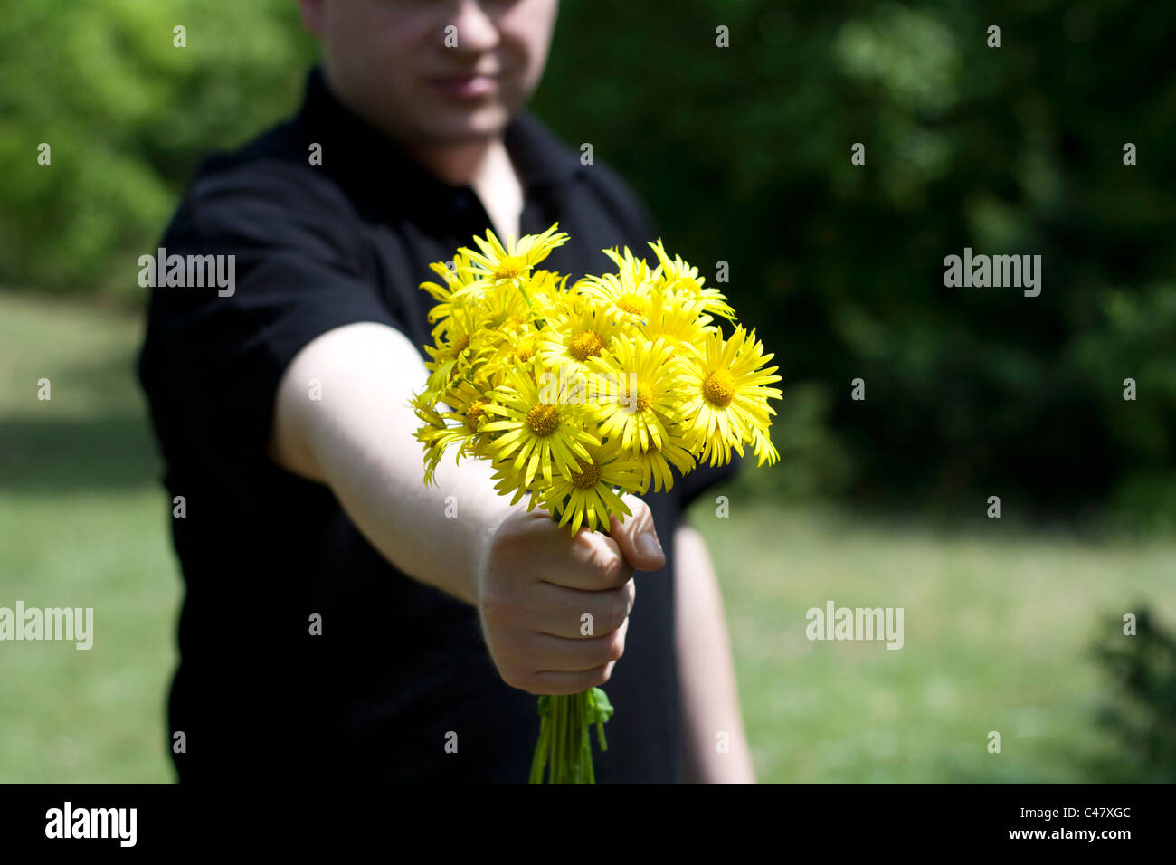 man giving a present with yellow daisy flowers focus on flowers