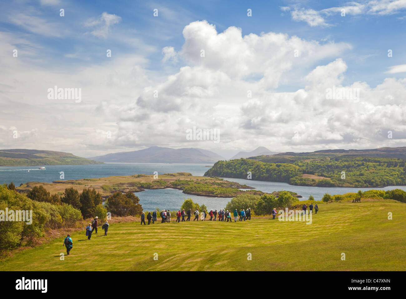A Rambling Club above Tobermory on the Isle of Mull - Stock Image