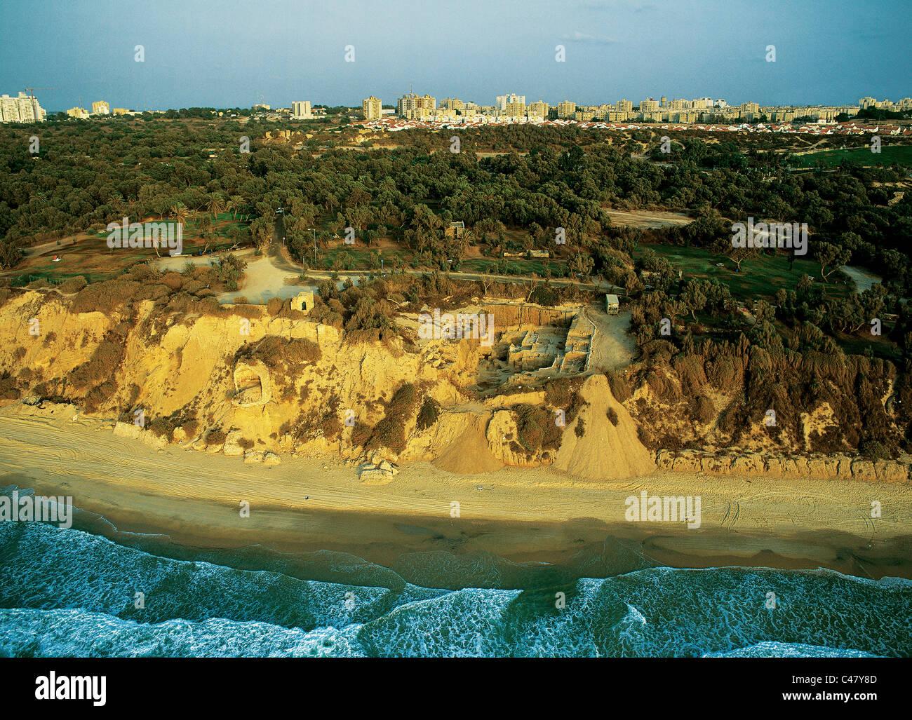 Aerial view of Roman Ashkelon - Stock Image