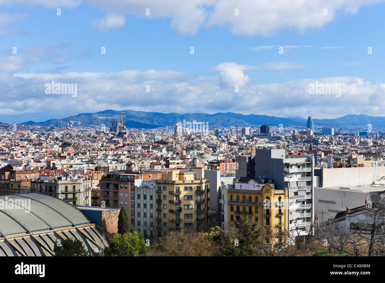 View over the city from the Palau Nacional, Montjuic, Barcelona, Catalunya, Spain - Stock Image