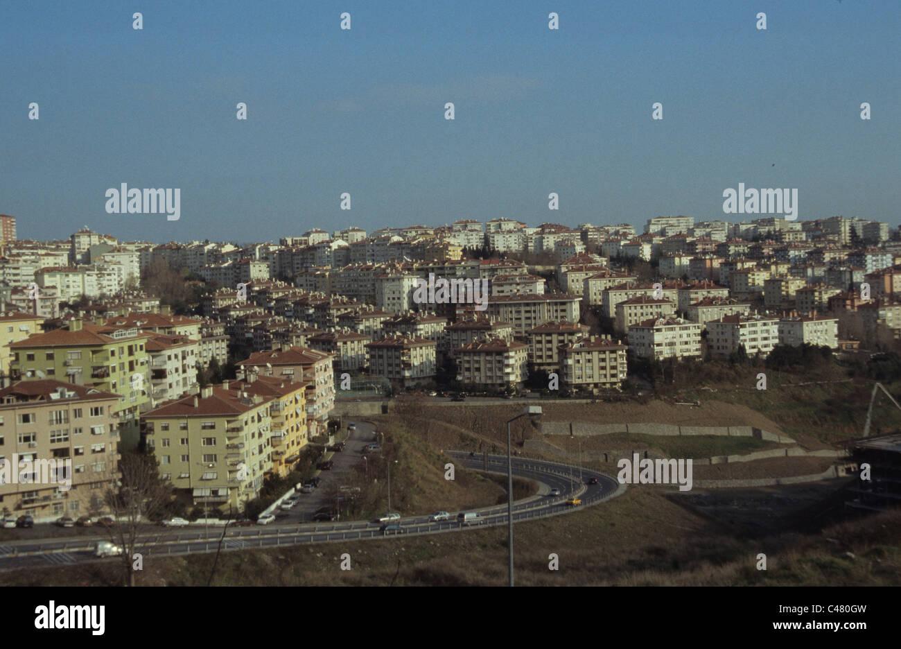 Conurbation of modern blocks of apartment flats Turkey - Stock Image