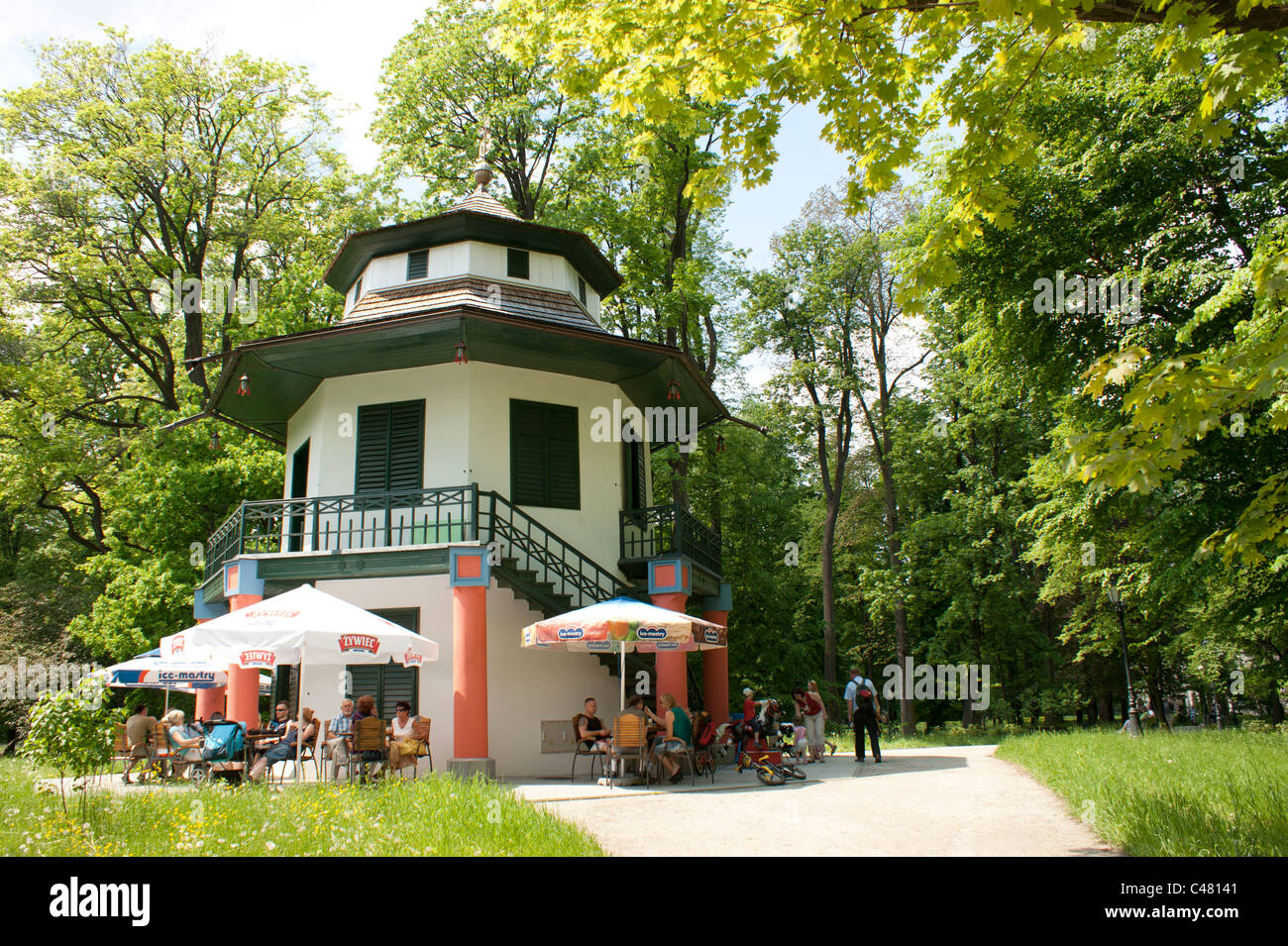 View on China House in Habsburg estate, castle park in Zywiec, Poland - Stock Image