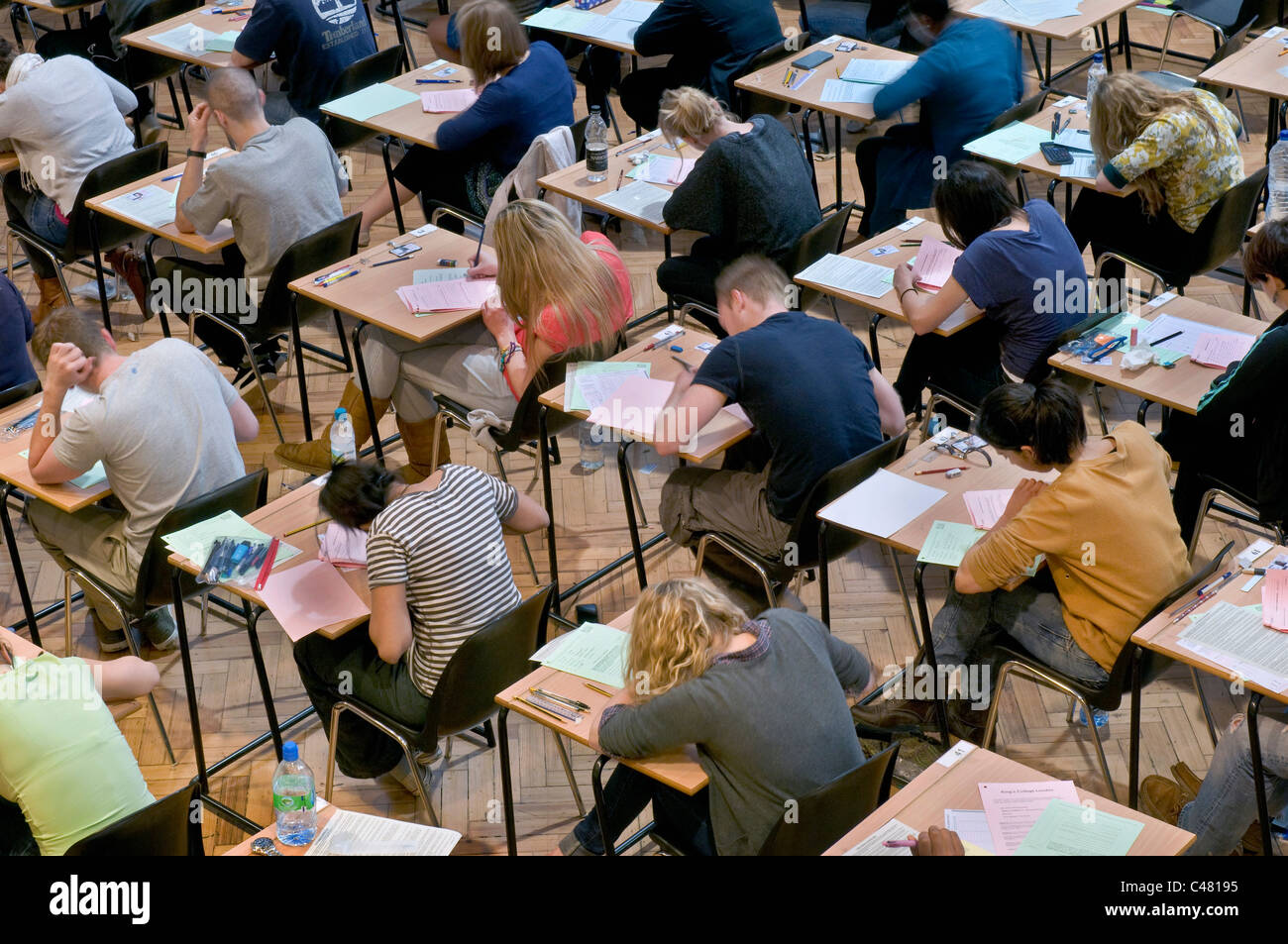 University students from King's College London, sitting exams - Stock Image