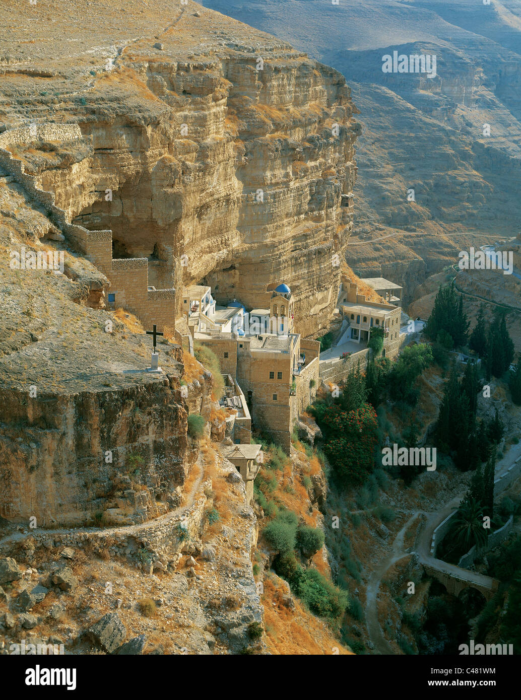 Aerial view of the monastery of ST. George in Wadi Kelt - Stock Image