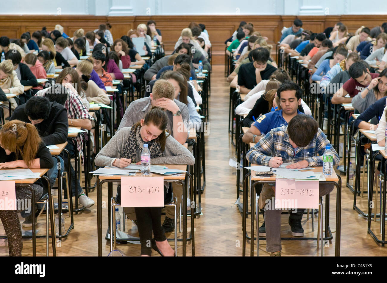University students from King's College London, sitting exams. - Stock Image