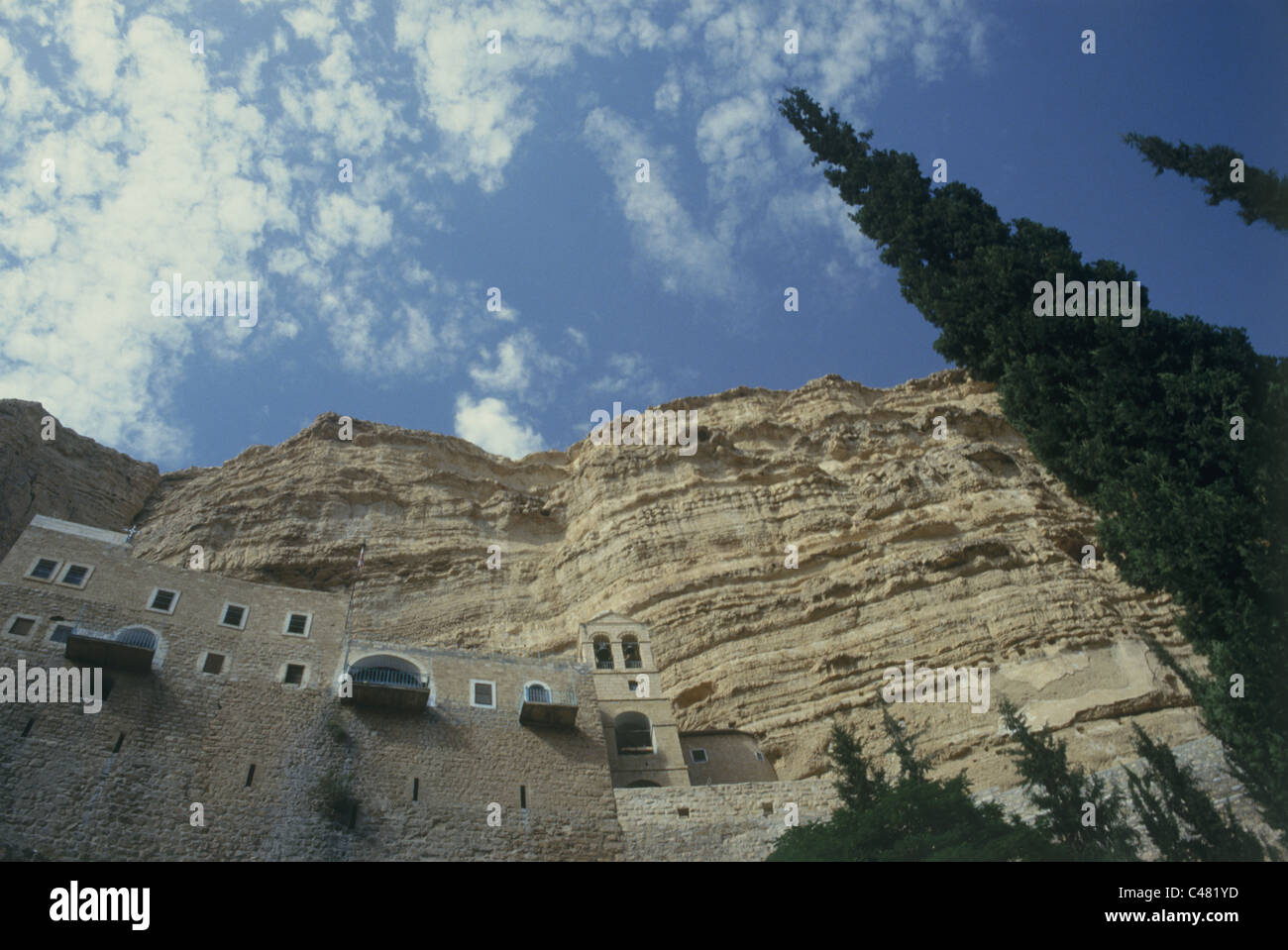 View of the monastery of ST. George in Wadi Kelt - Stock Image