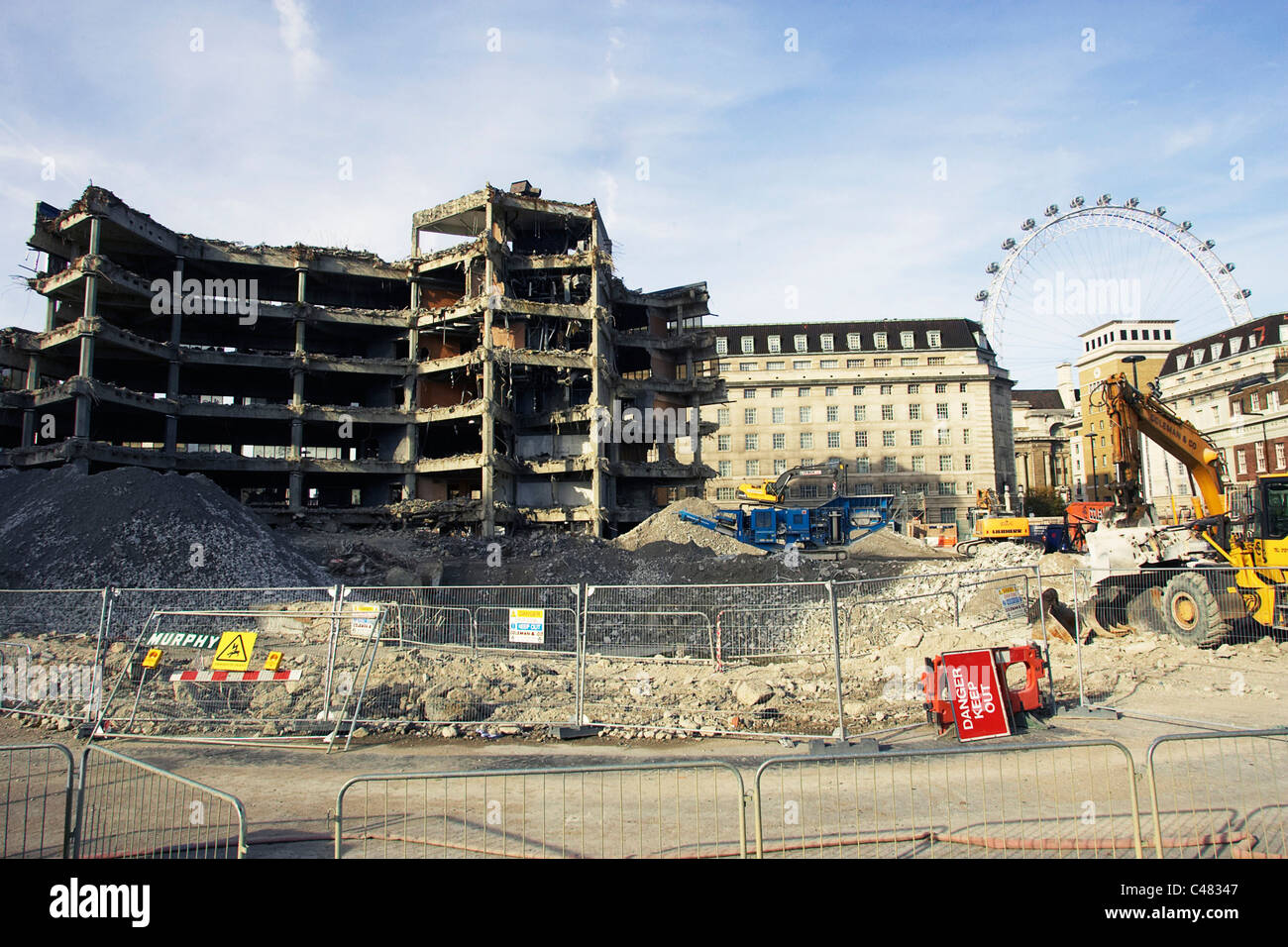 Demolition of the officially known as Greater London Council Overflow Building  Number 1 Westminster. - Stock Image