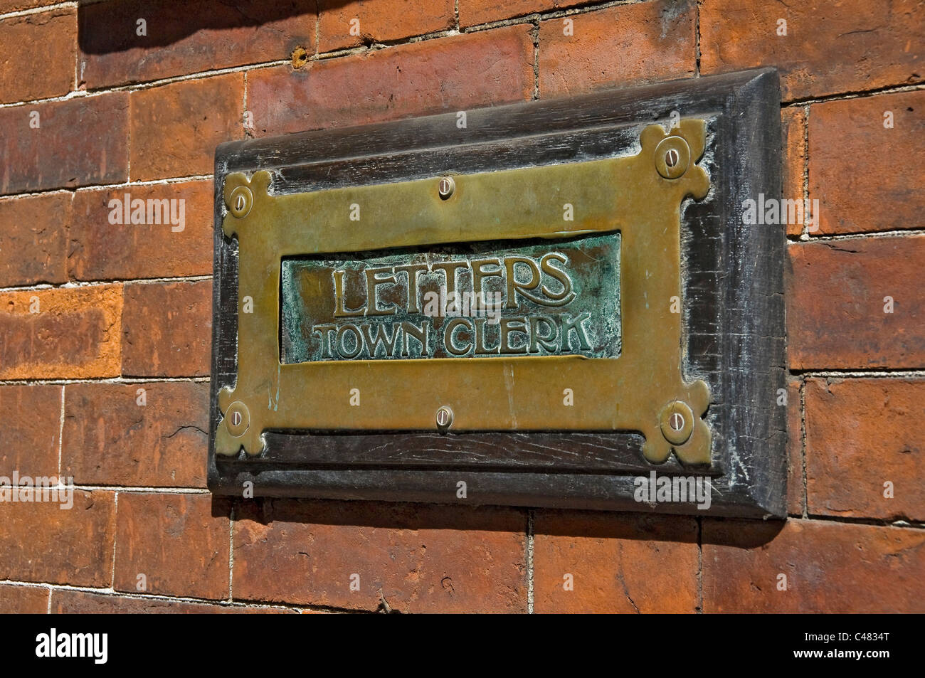 Brass letterbox for the Town Clerk Scarborough North Yorkshire England UK United Kingdom GB Great Britain - Stock Image