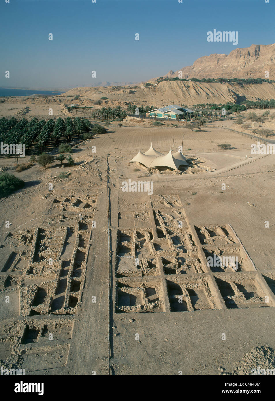 Aerial photograph of the ancient synagogue of En Gedi in the Judean Desert near the Dead sea - Stock Image