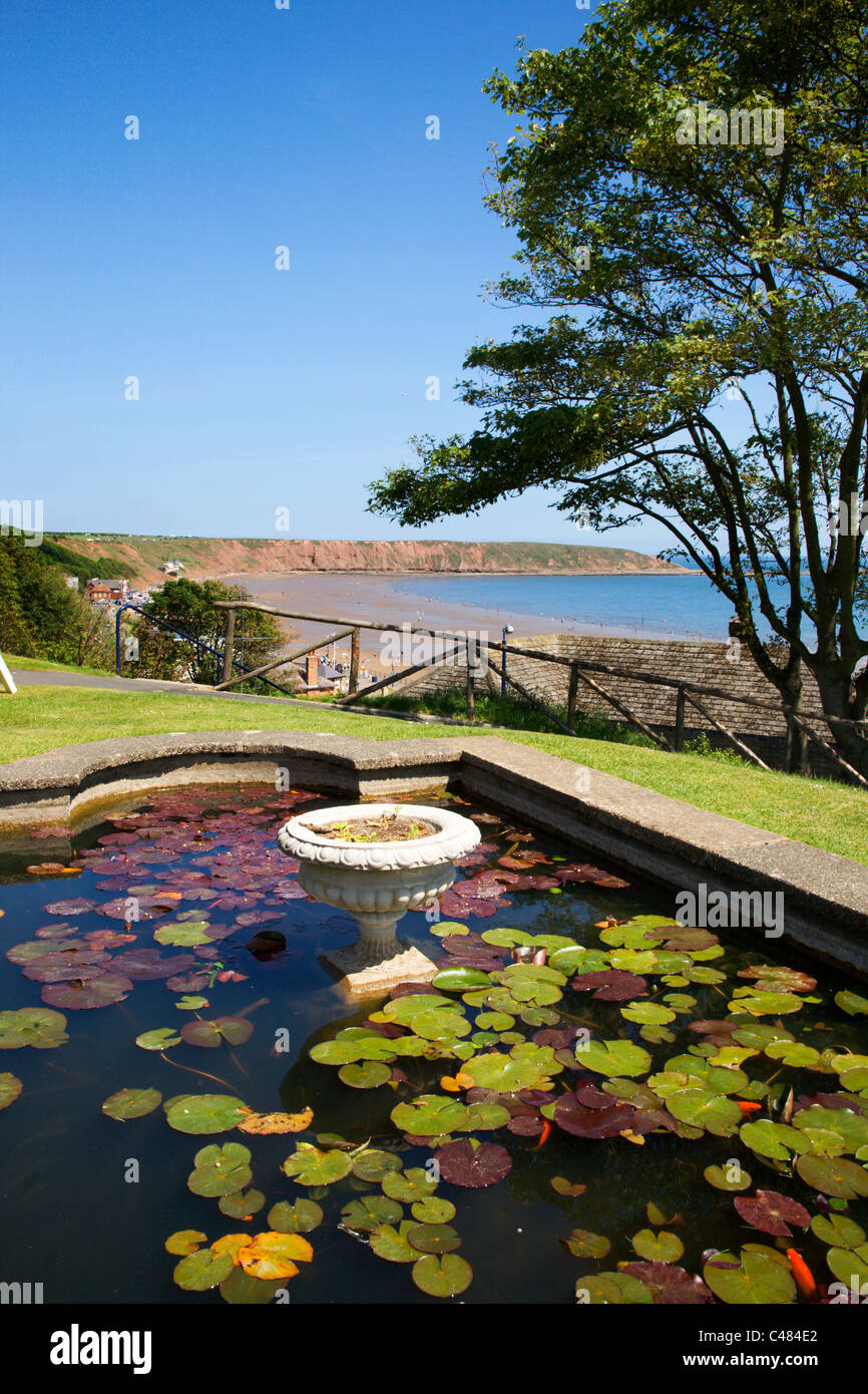 View from Cresent Gardens to Filey Brigg Filey North Yorkshire England - Stock Image