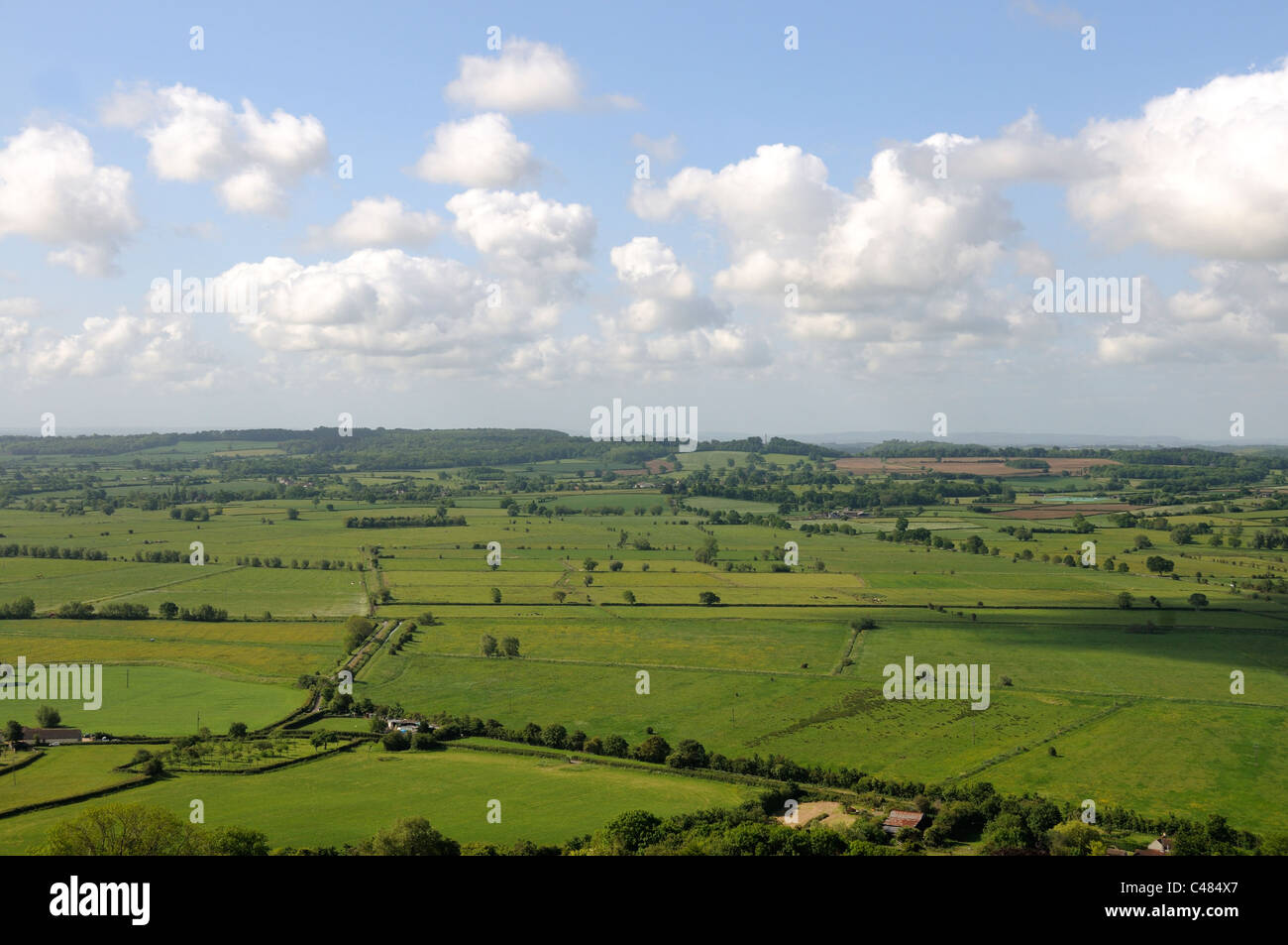View of the Somerset Countryside showing the Somerset levels, looking south from Glastonbury Tor, Somerset, England, - Stock Image