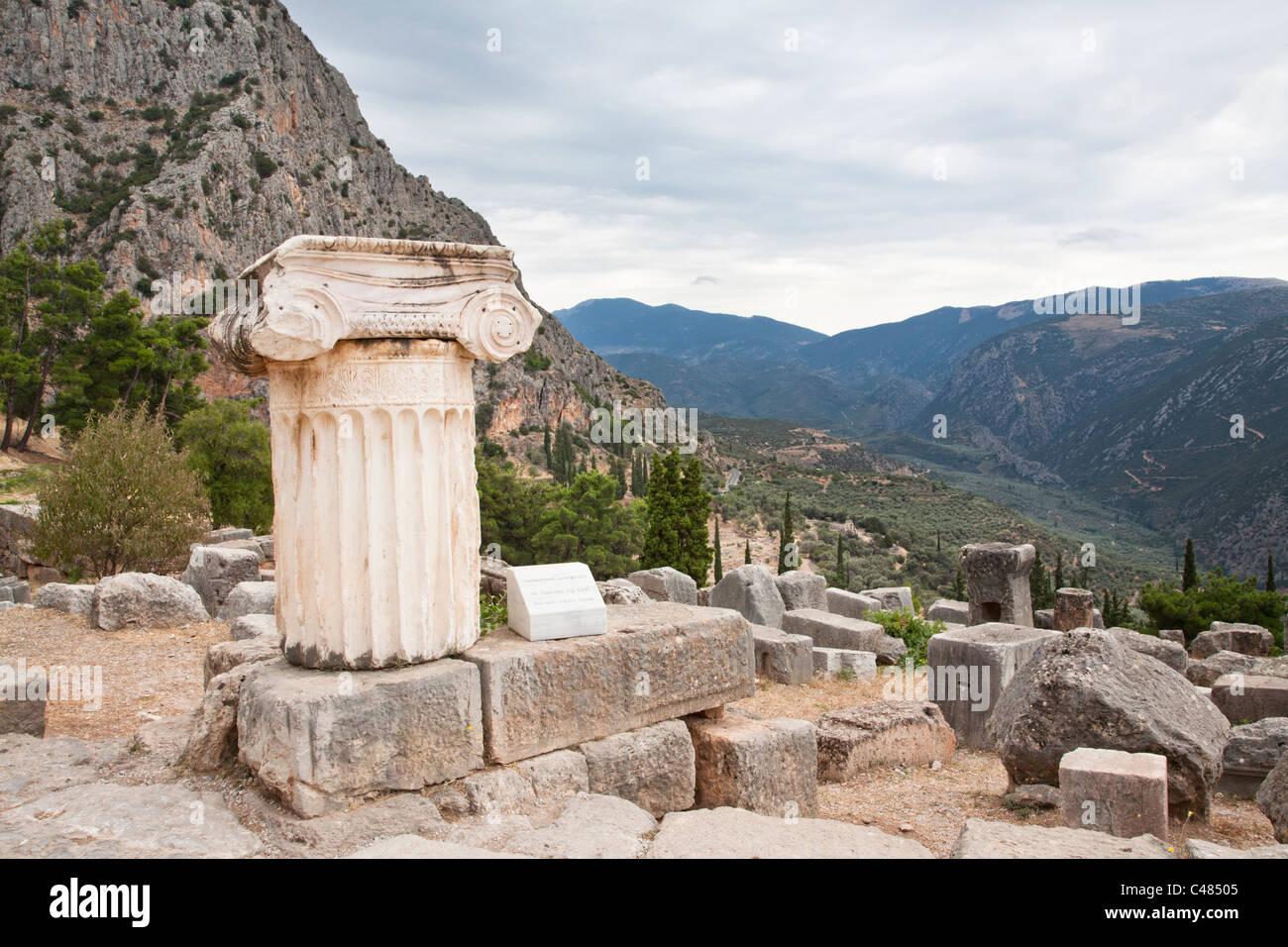 Column, Delphi Greece Stock Photo
