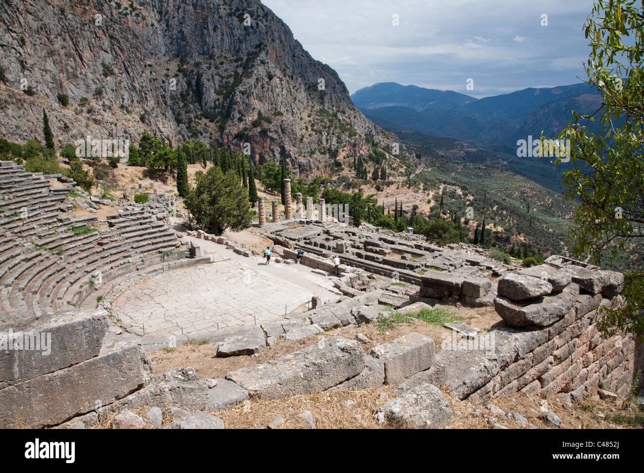 The Theater and Temple of Apollo, Delphi Greece Stock Photo