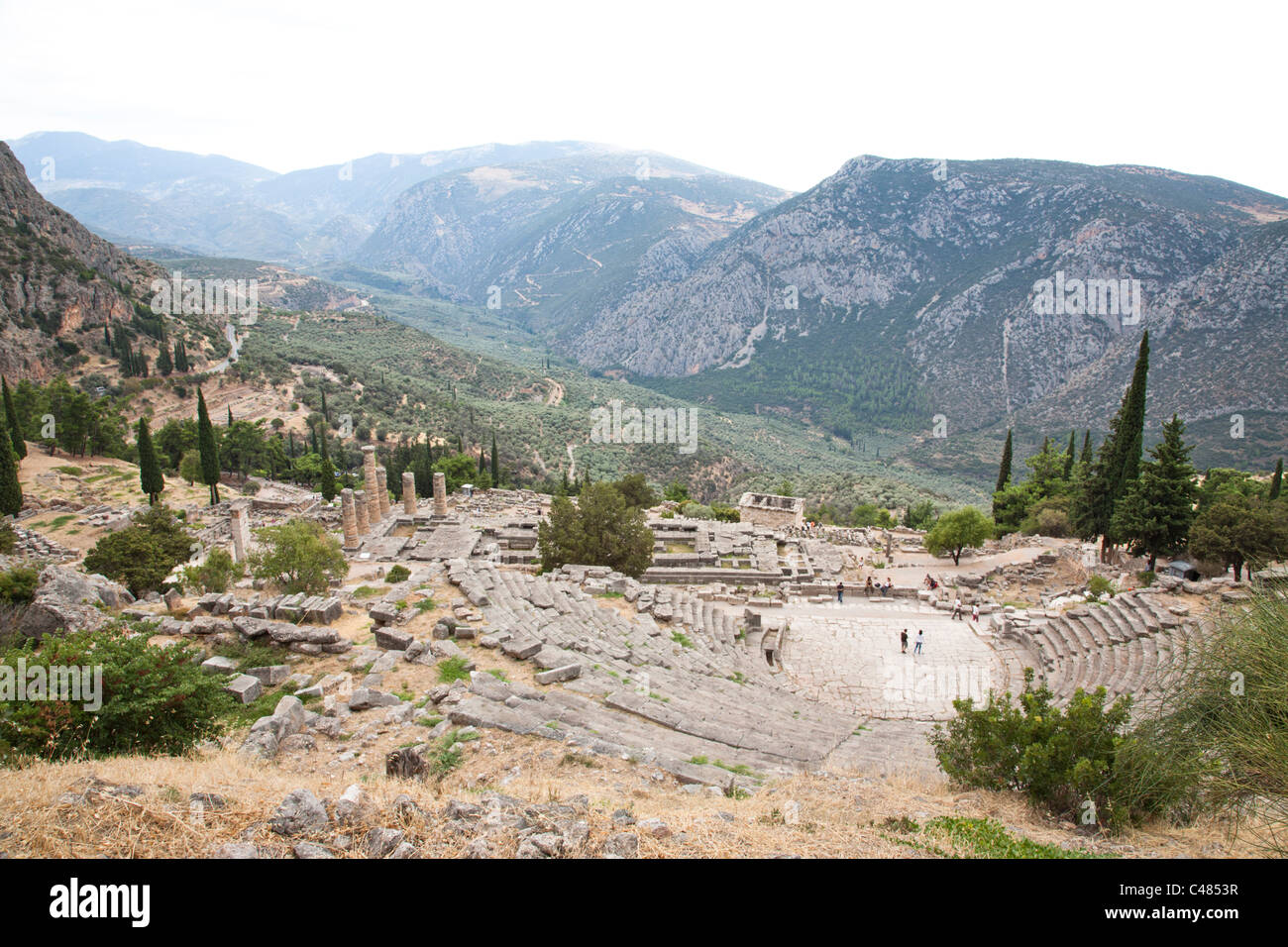 The Theater and Temple of Apollo, Delphi Greece Stock Photo