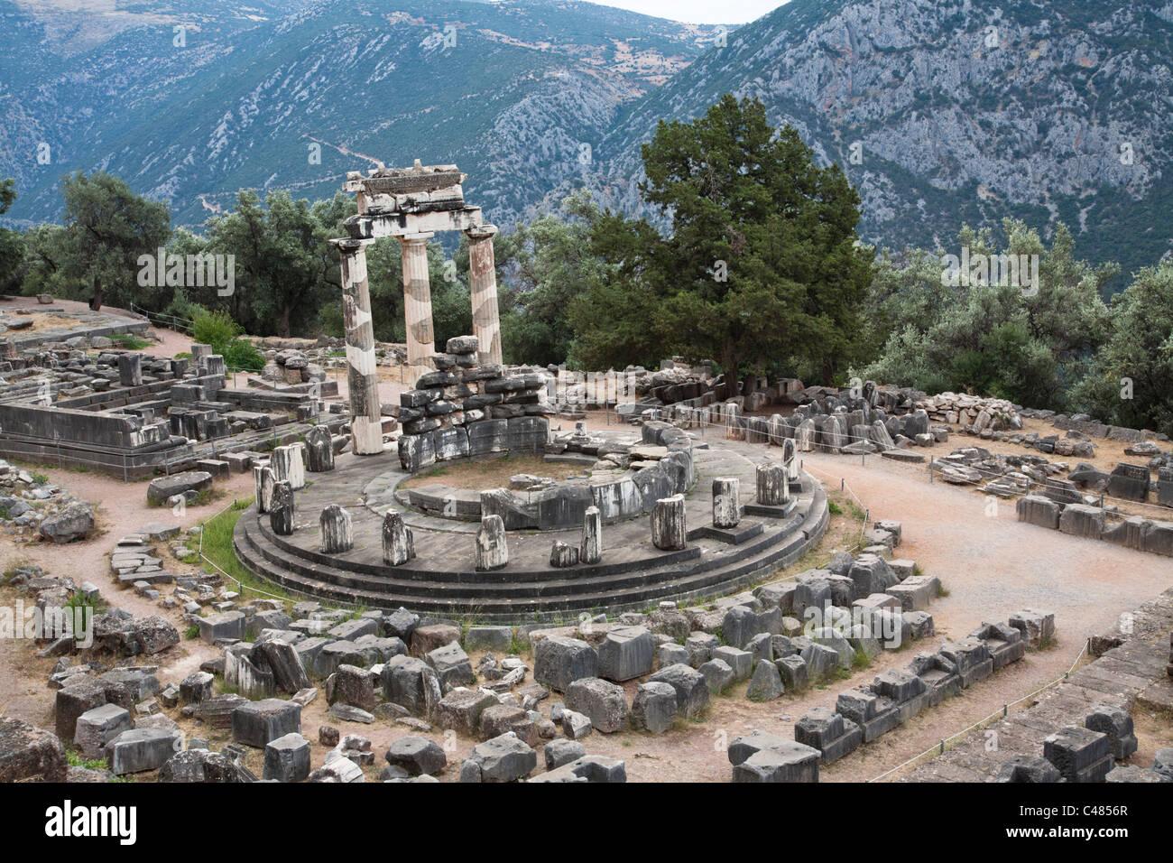 Tholos is a fourth century BC rotunda, Delphi Greece Stock Photo
