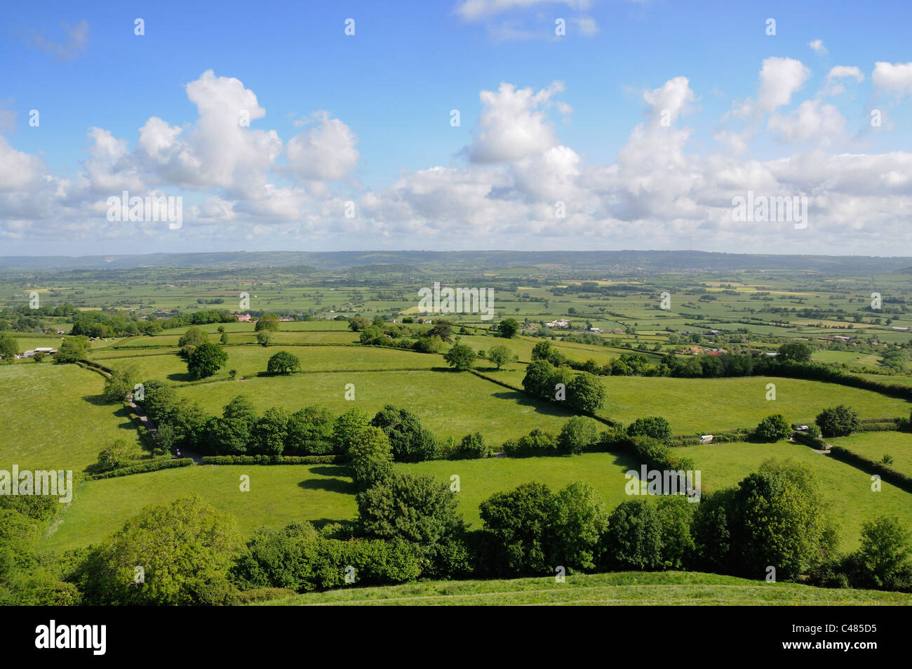 View of the Somerset Countryside, looking North from Glastonbury Tor, Somerset, England, May - Stock Image