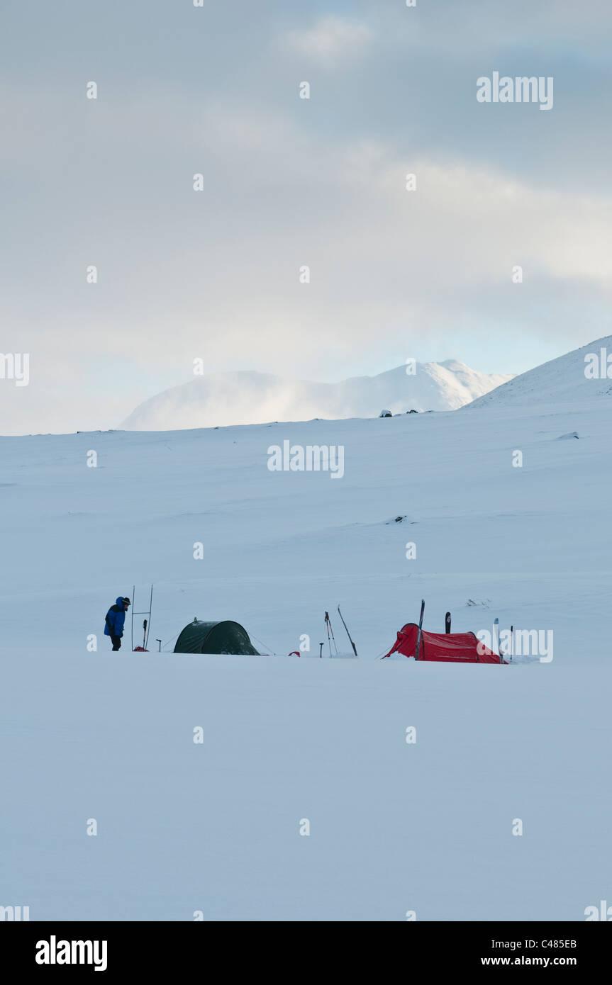 Zeltlager im Schnee, Sarek Nationalpark, Norrbotten, Lappland, Schweden Stock Photo