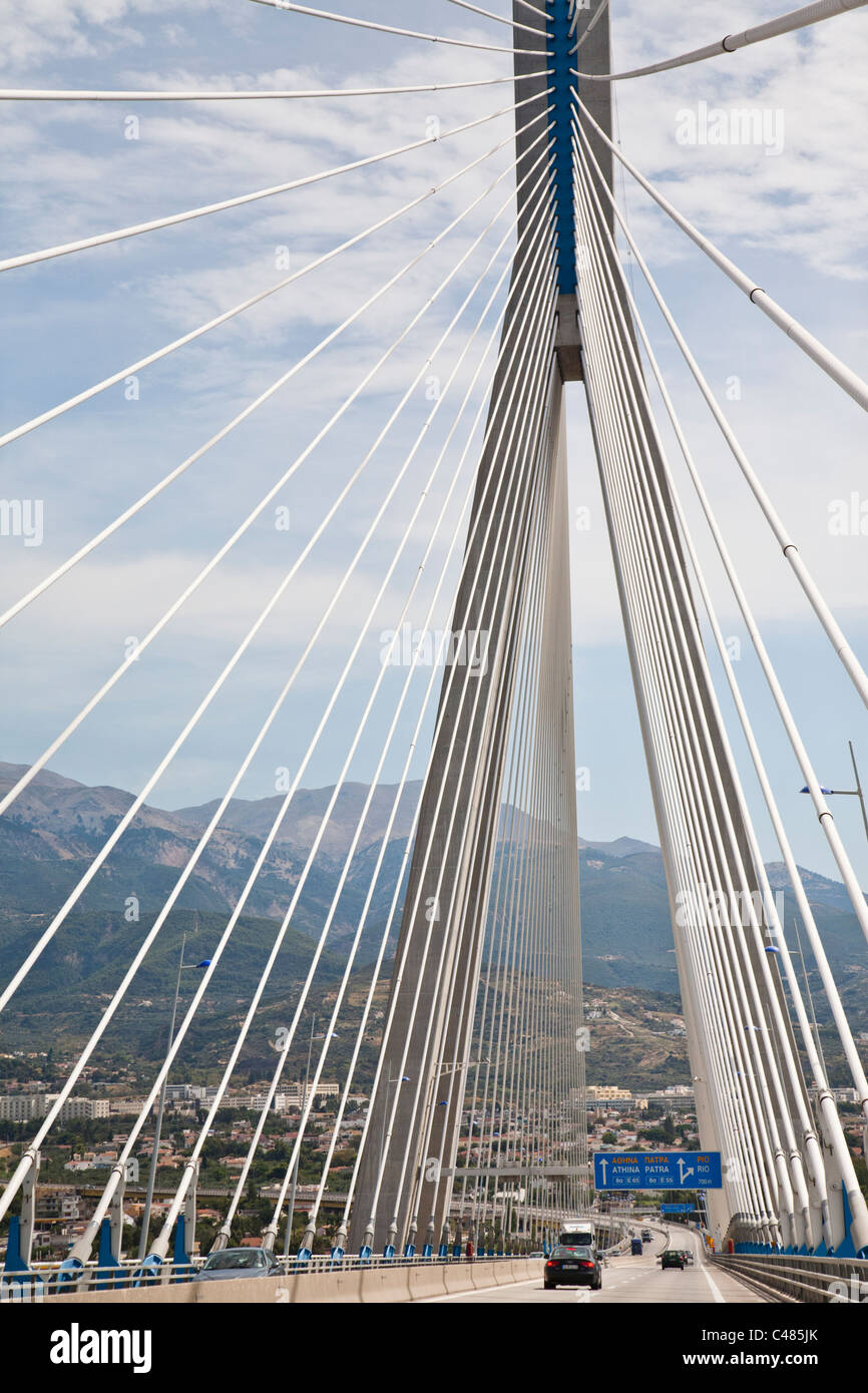 """Charilaos Trikoupis"" bridge linking Rio and Andirio. From mainland Greece to the Peloponnese, across the Gulf of Stock Photo"