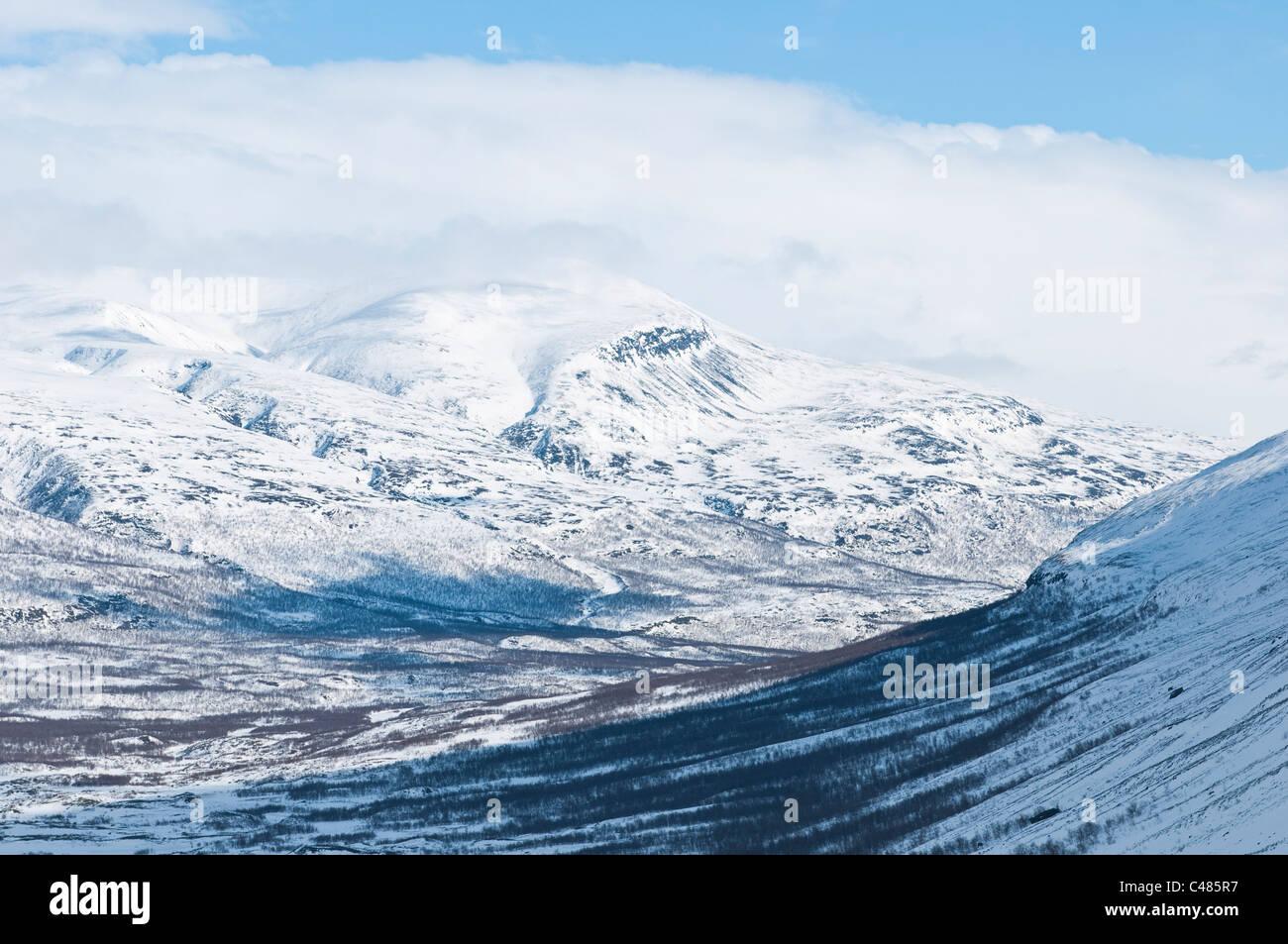 Blick vom Tal Unna Reaiddavaggi ins Tal Vistasvaggi Vistasdalen, Kebnekaisegebiet, Norrbotten, Lappland, Schweden - Stock Image