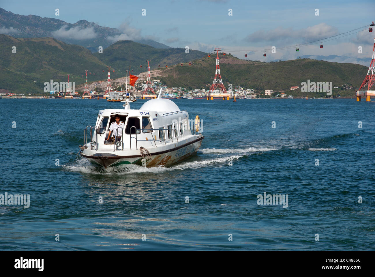 Modern hydrofoil transporting visitors from Nha Trang to Vinpearl, Vietnam - Stock Image