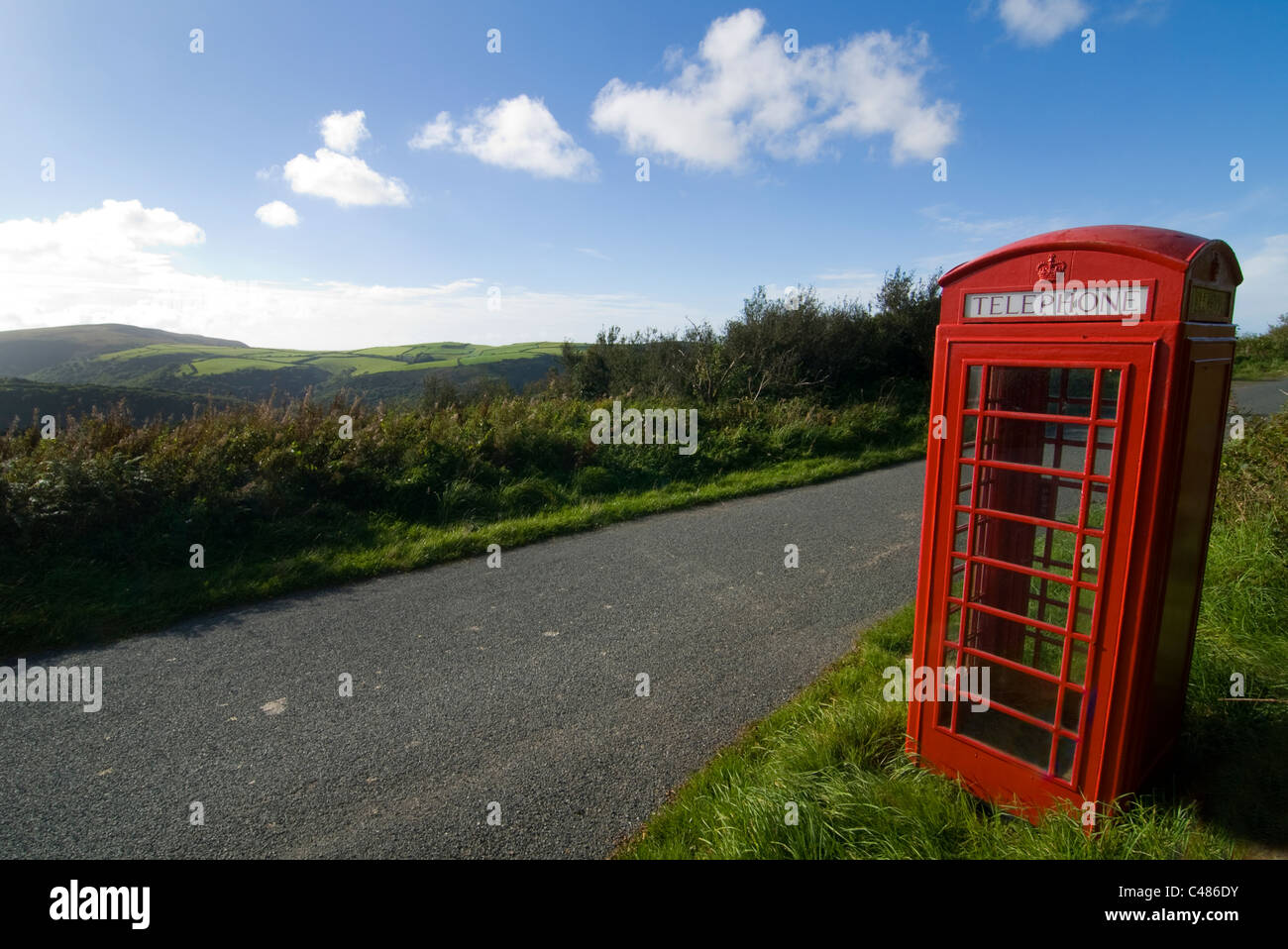Old Red telephone box on the top of Exmoor, Devon - Stock Image