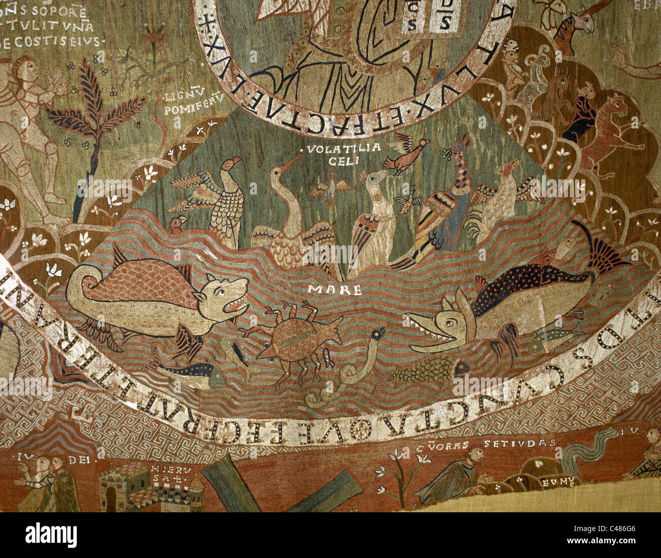 Romanesque Art. Tapestry of Creation or Girona Tapestry. Creation of birds and fish. Girona. Spain. - Stock Image