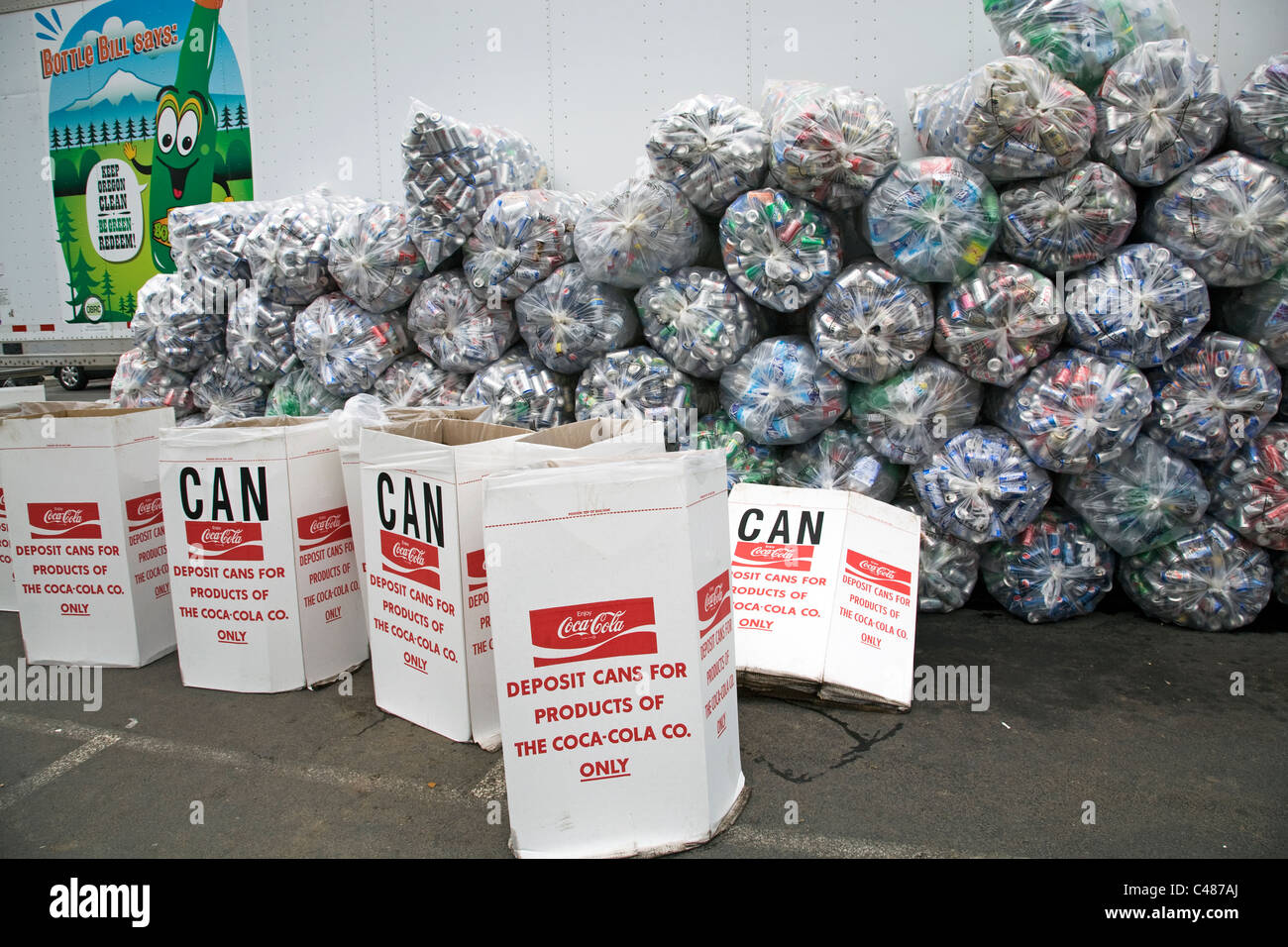 Aluminium cans from the Coca Cola Corporation being collected for charity in Bend, Oregon. - Stock Image