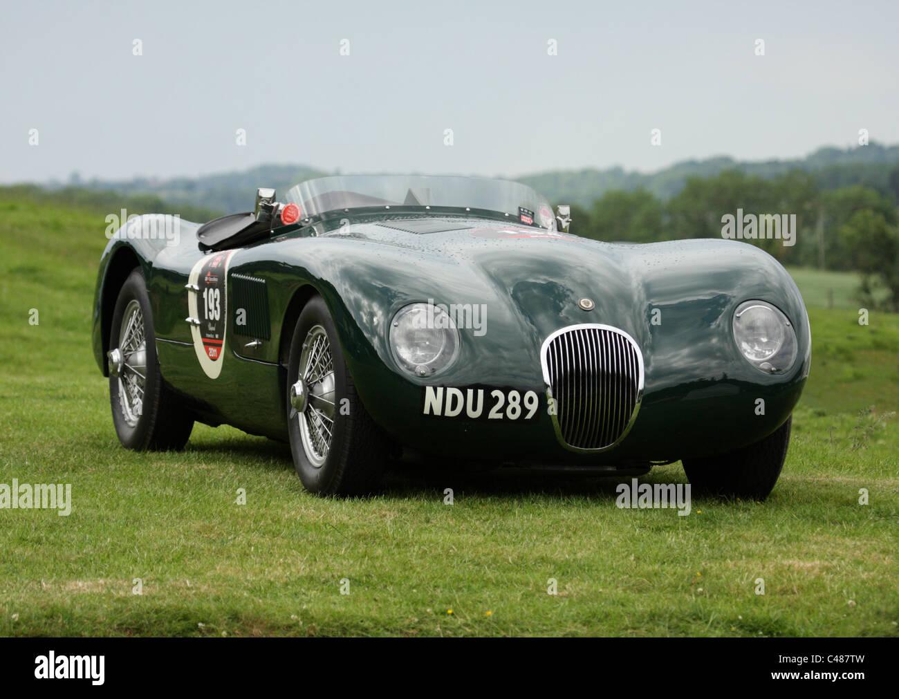 1950s Racing Car Stock Photos Images Alamy Jaguar Cars A Classic C Type At Shelsley Walsh Hill Climb During