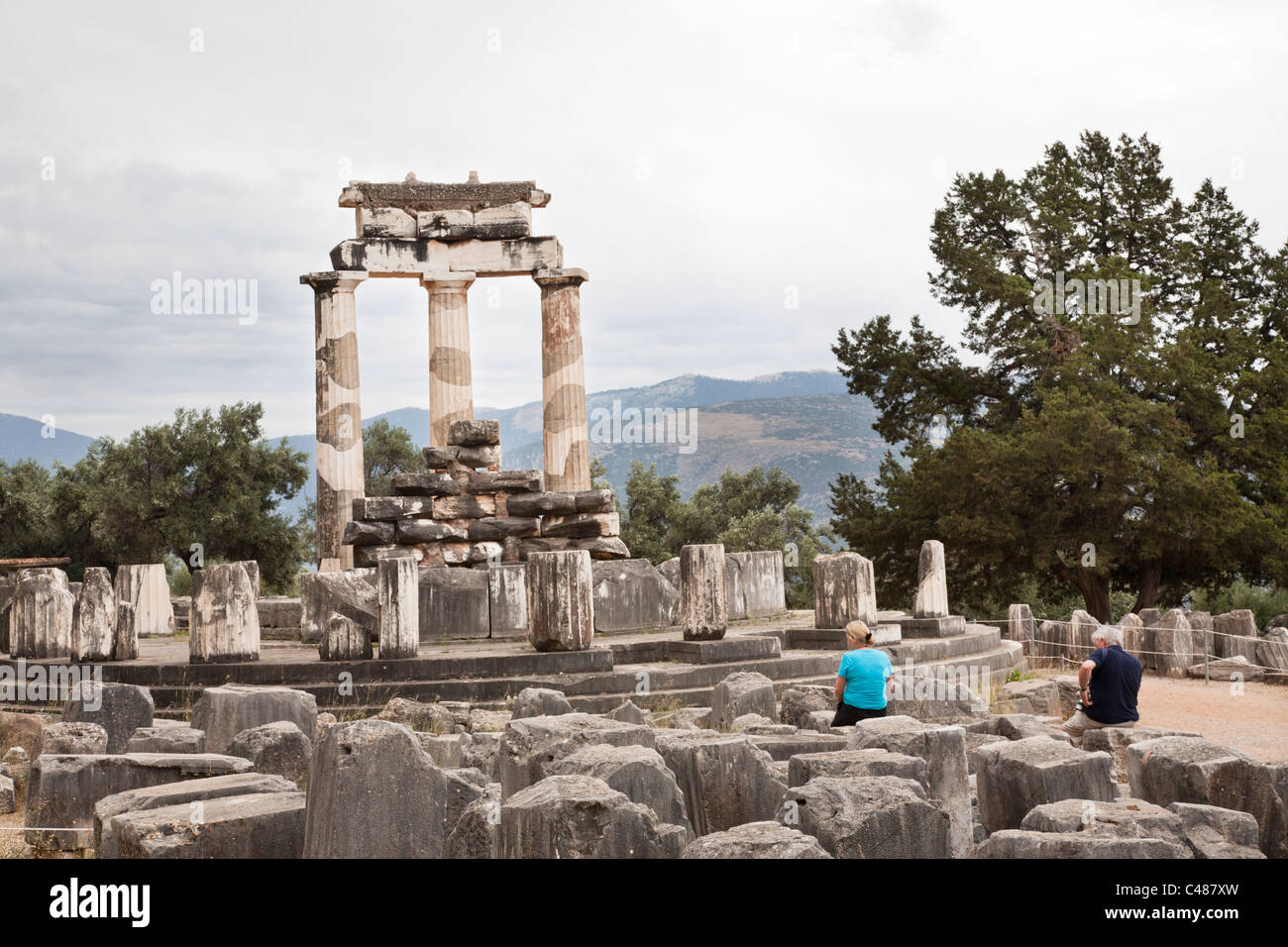 Tholos is a fourth century BC rotunda, Delphi Greece Stock Photo