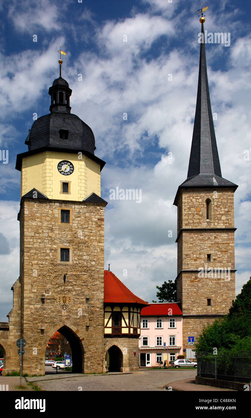 Historic city gate Riedturm Tower and the tower of the St Jakobus pilgrimage church, Arnstadt, Thuringia, Germany - Stock Image