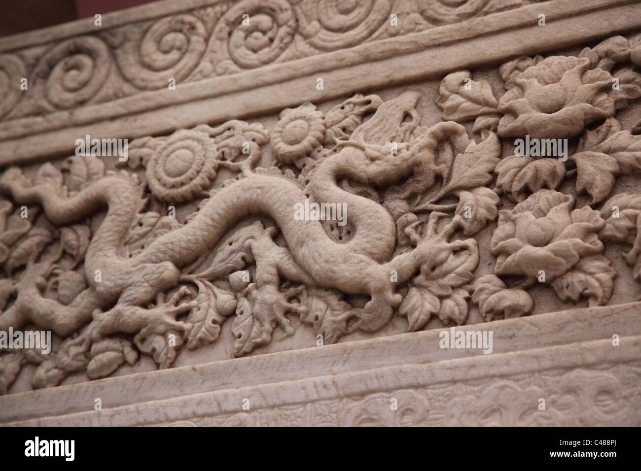 Stone carving detail Forbidden City, Beijing, China - Stock Image