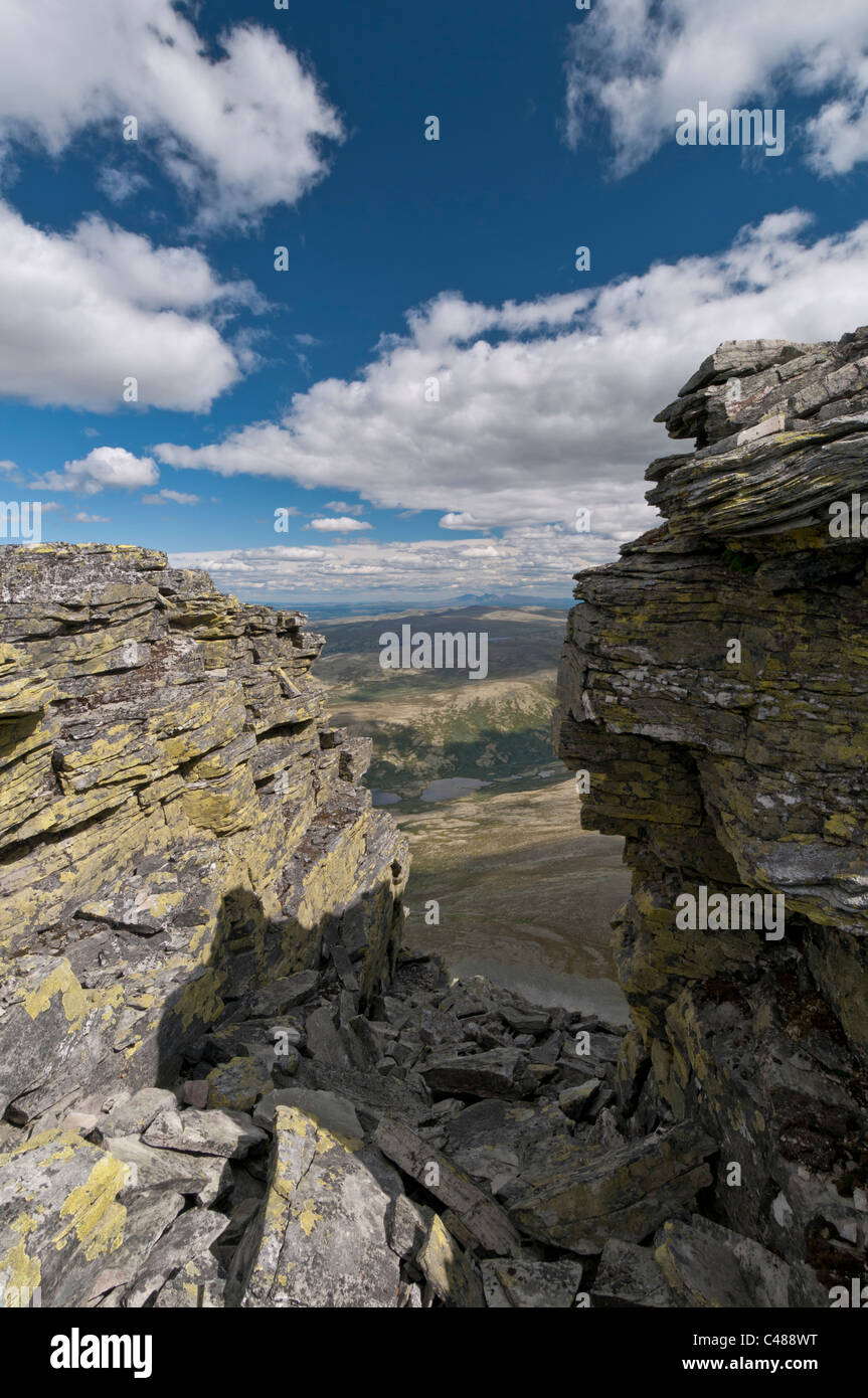 Blick ueber das Alvdal Vestfjell zum Berg Rendalssoelen, Rendalen, Hedmark, Norwegen Stock Photo