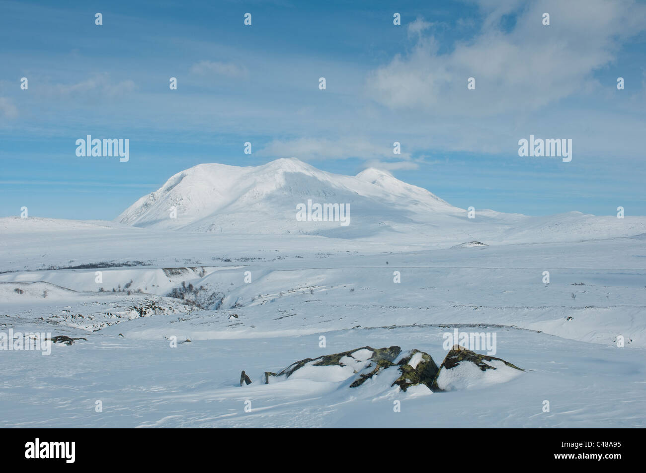 Blick zum Akkamassiv, Stora Sjoefallet Nationalpark, Welterbe Laponia, Norrbotten, Lappland, Schweden - Stock Image