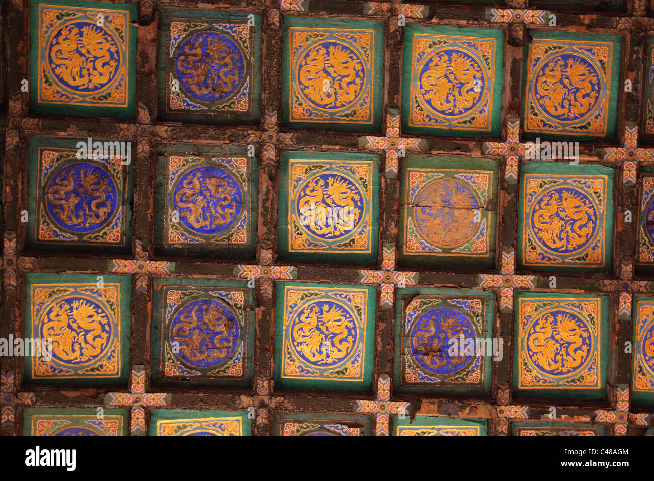 Ceiling detail, Forbidden City, Beijing, China - Stock Image
