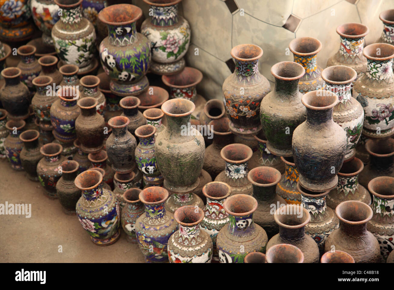 Vases in a cloisonne ware factory Beijing, China - Stock Image