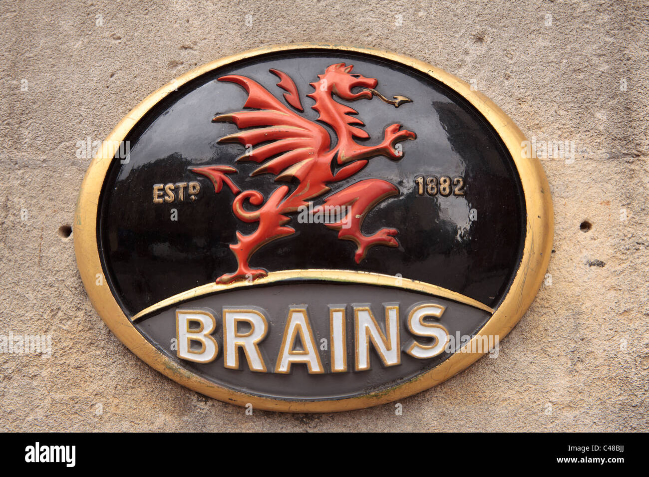 Brains Brewery plaque, Cardiff, South Wales, UK - Stock Image