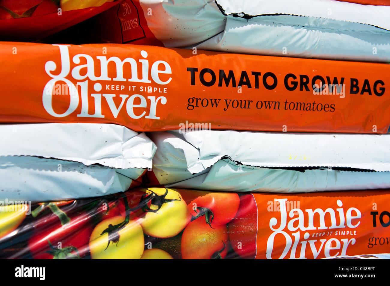 ' Jamie Oliver ' grow bags - Stock Image