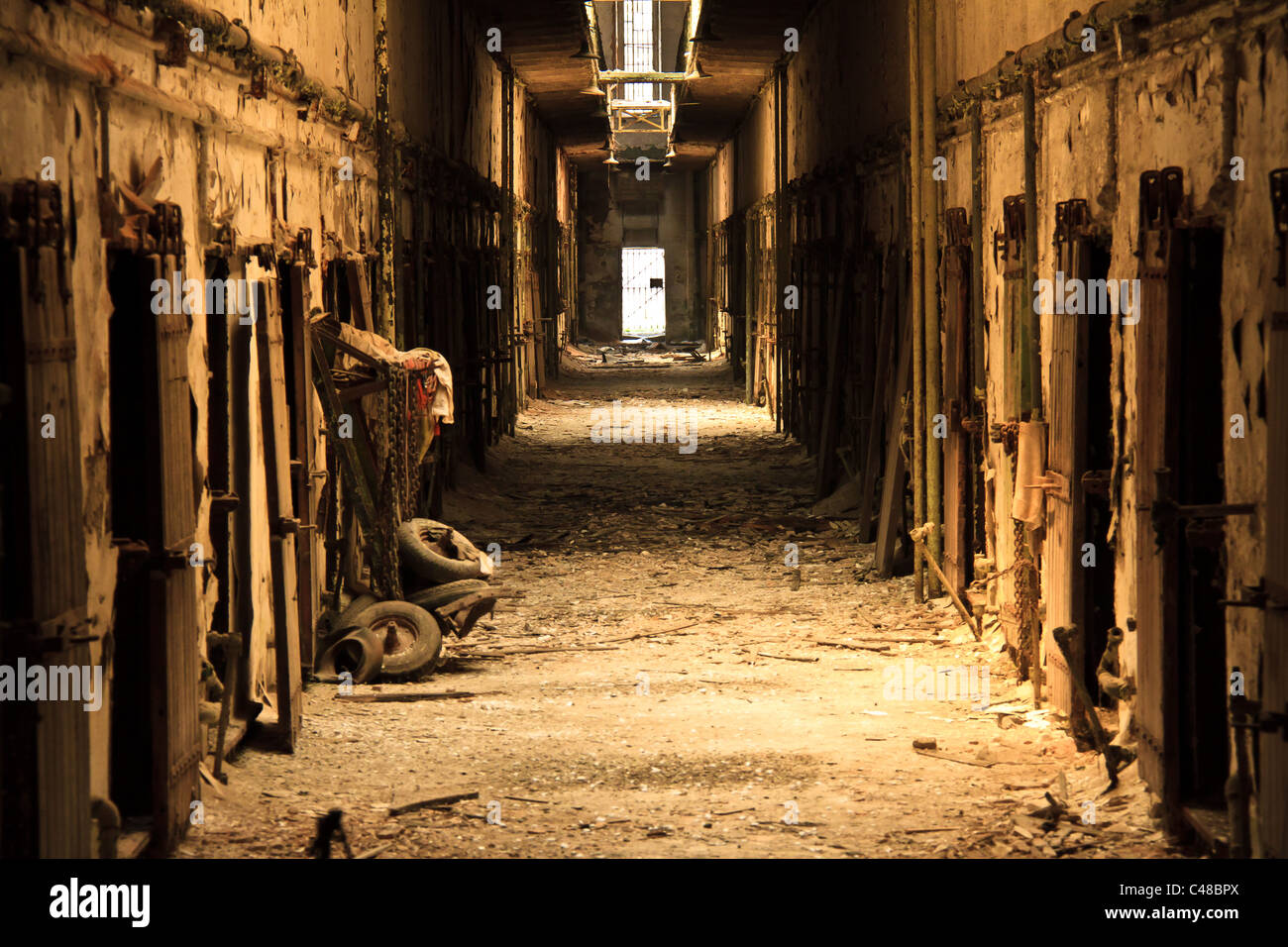 One of the crumbling cellblocks at Eastern State Penitentiary in Philadelphia, Pa. The prison was built in 1829. - Stock Image