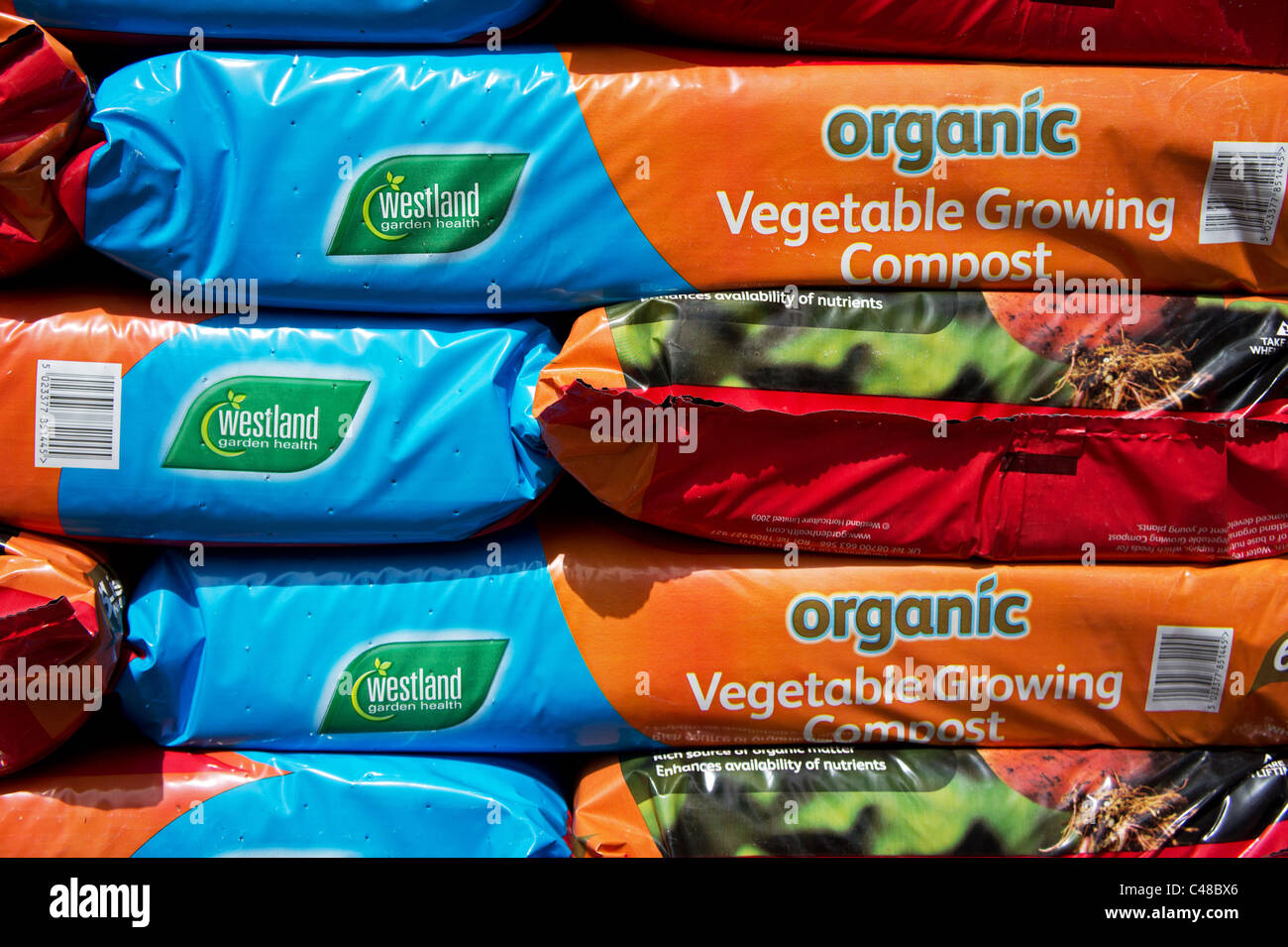 Bags of organic compost - Stock Image