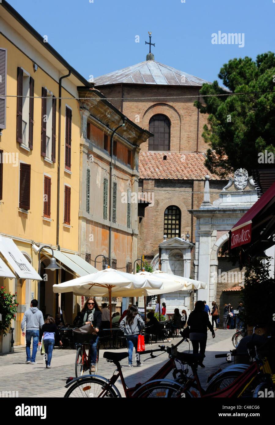 Via Argentario and the Basilica of San Vitale in Ravenna - Stock Image