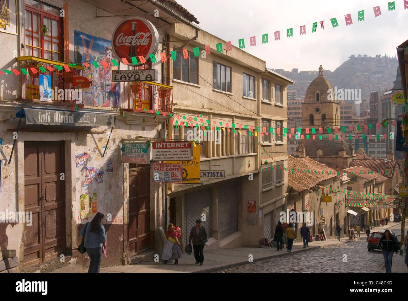 Street scene with Iglesia San Francisco, 1744-53. - Stock Image