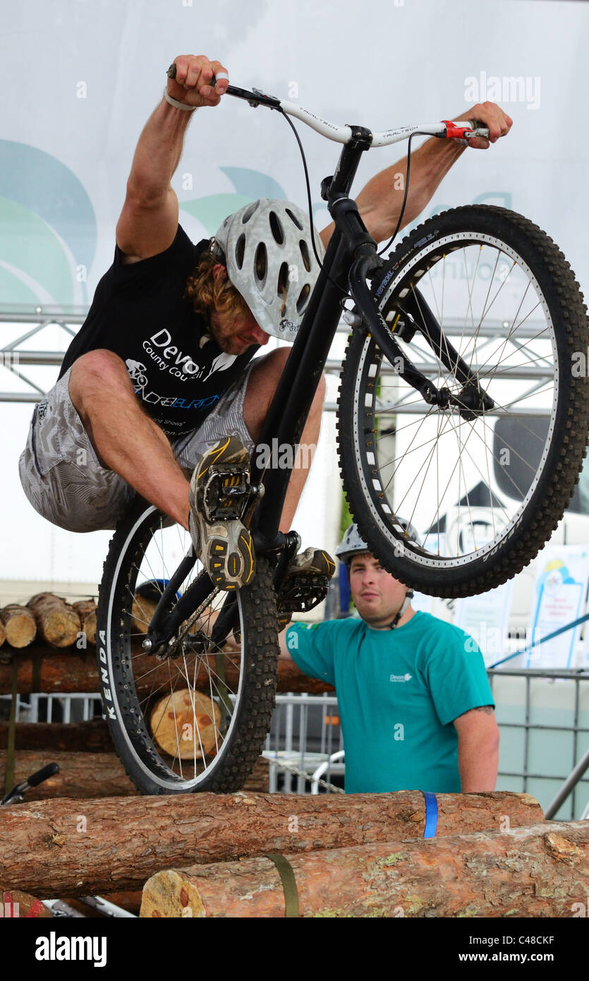 freestyle mountain bike stunt rider performing at the Devon County Show in May 2011 - Stock Image