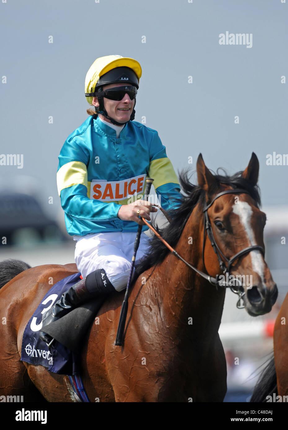 Adam Kirby riding Fanunalter celebrates winning the Investec Diomed Stakes at the 2011 Investec Derby Meeting - Stock Image