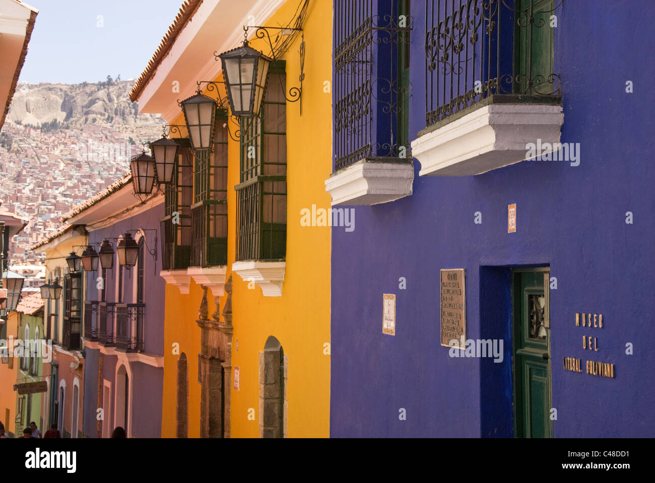 Street scene with colorful building facades. - Stock Image