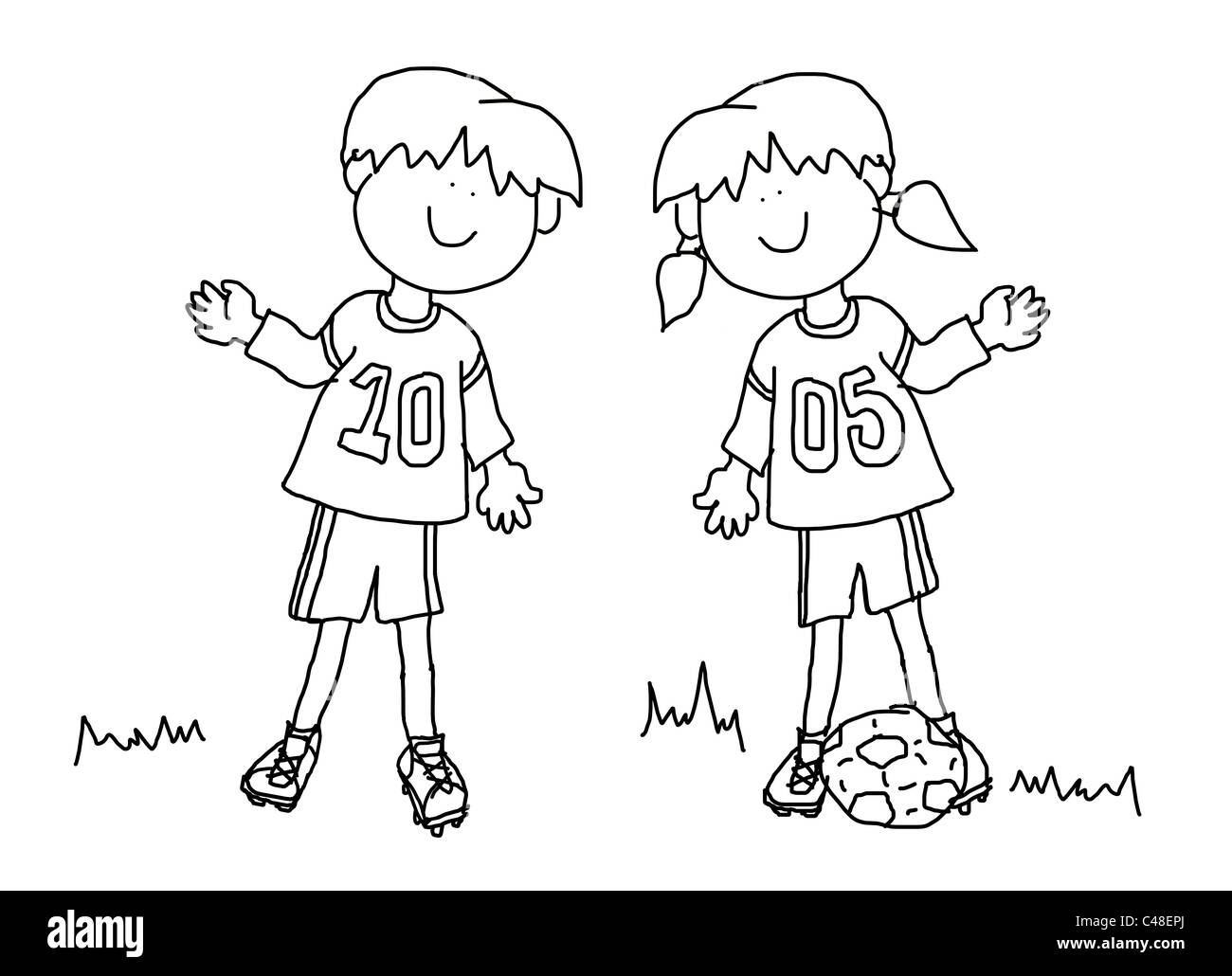 Fun Boy And Girl Cartoon Outline Playing Soccer Or Football In Their Team Uniform Large Format