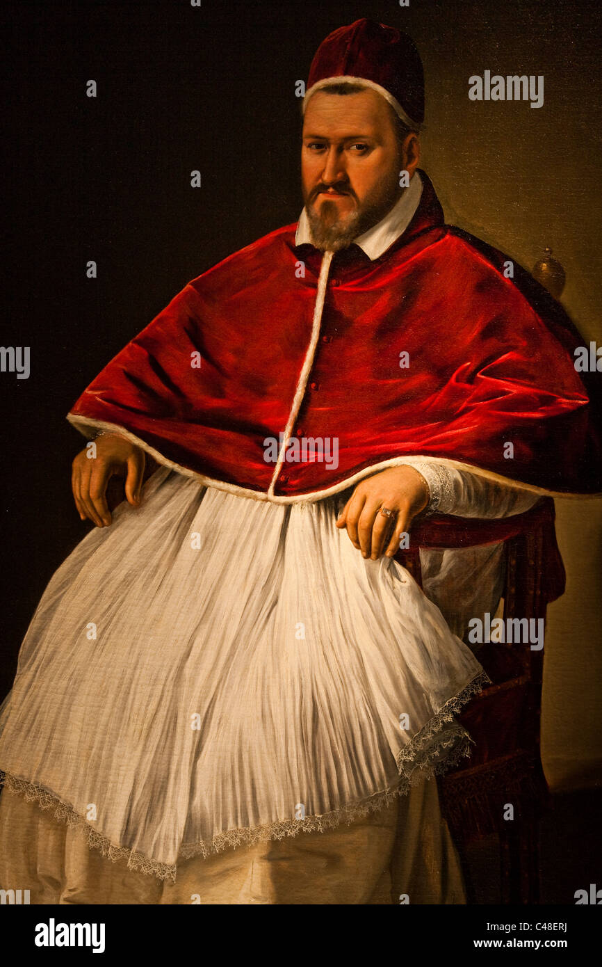 Portrait of Paul V Borghese by Caravaggio in 1605 - Stock Image