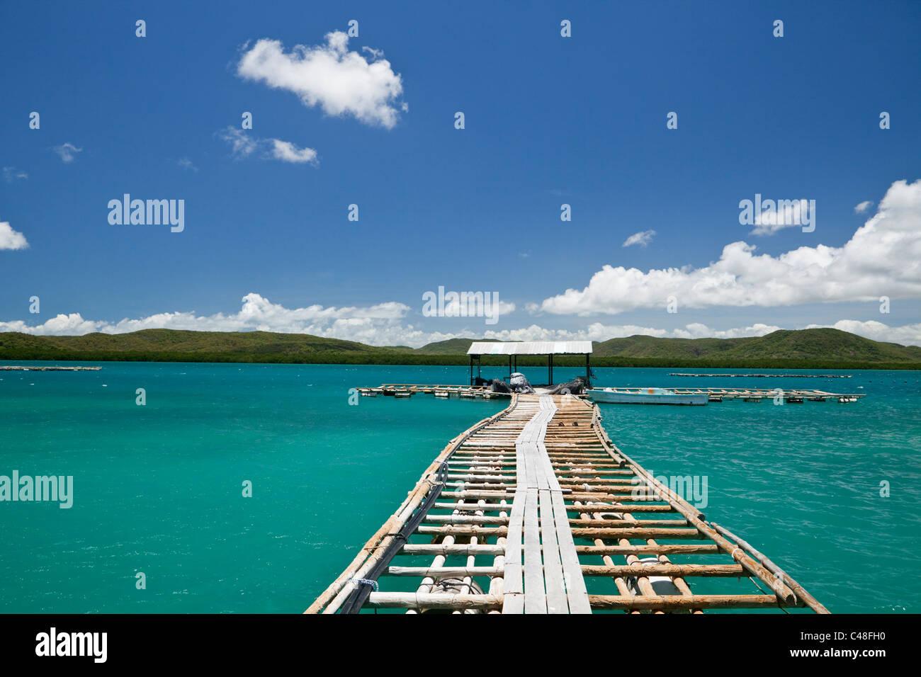 Jetty at Kazu Pearls pearl farm.  Friday Island, Torres Strait Islands, Queensland, Australia - Stock Image