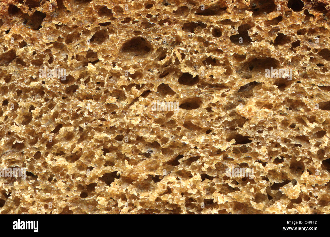 detailed close-up of rye bread full frame - Stock Image