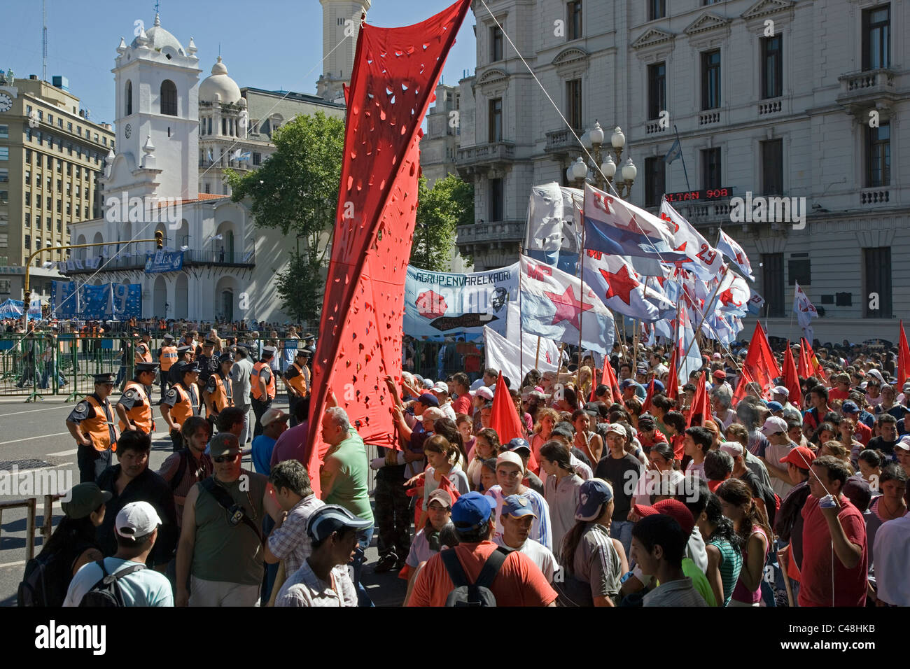 A march to Celebrate the memory of the disappeared in Argentina - Stock Image